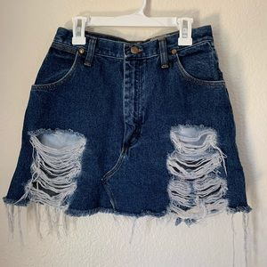 LF First of a Kind Distressed Wrangler Denim Skirt